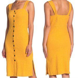 Madewell Button Front Textured Dress Yellow Sz XS